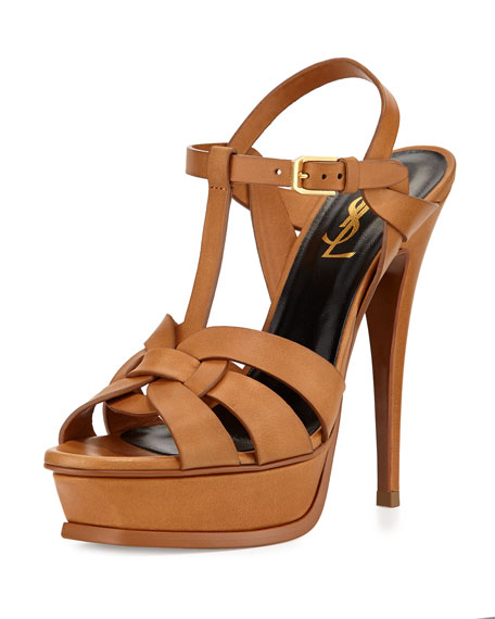 Saint LaurentTribute Leather Platform Sandal, Bronze