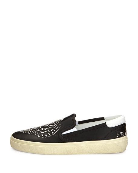 Bandana Studded Leather Skate Shoe, Noir
