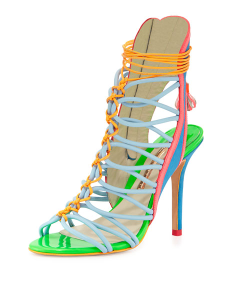 Lacey Strappy High-Heel Sandal, Blue/Multi