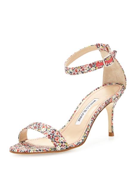 Manolo Blahnik Chaos Floral-Print 70mm Sandal, Pink