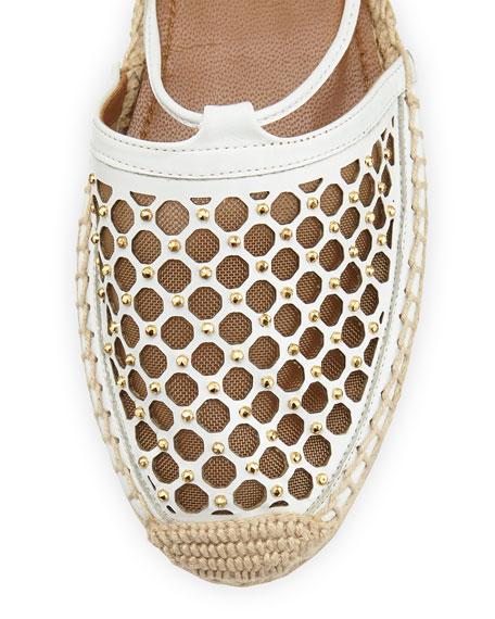 Blondie Studded Lattice Espadrille Sandal, White