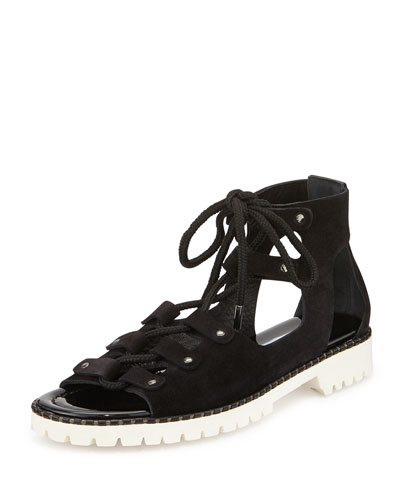 Wylde Suede Lace-Up Sandal, Black