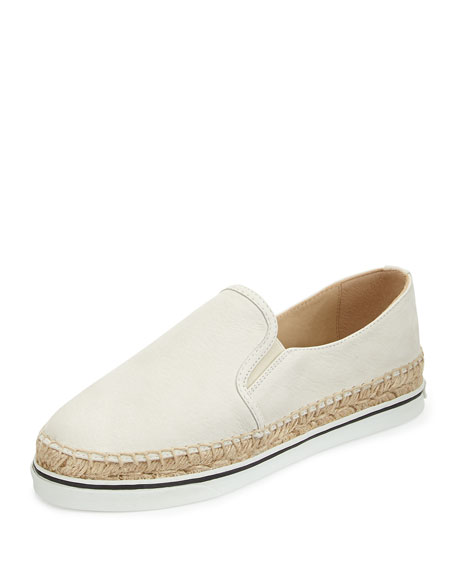 Jimmy Choo Dawn Leather Espadrille Slip-On, White