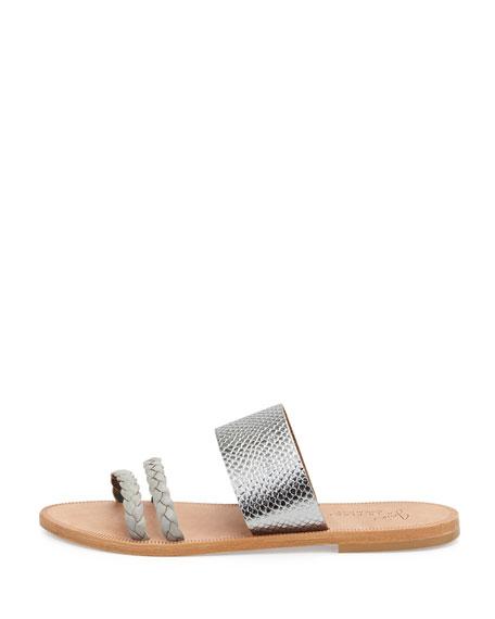 Diani Banded Metallic Flat Sandal, Flint/Pewter