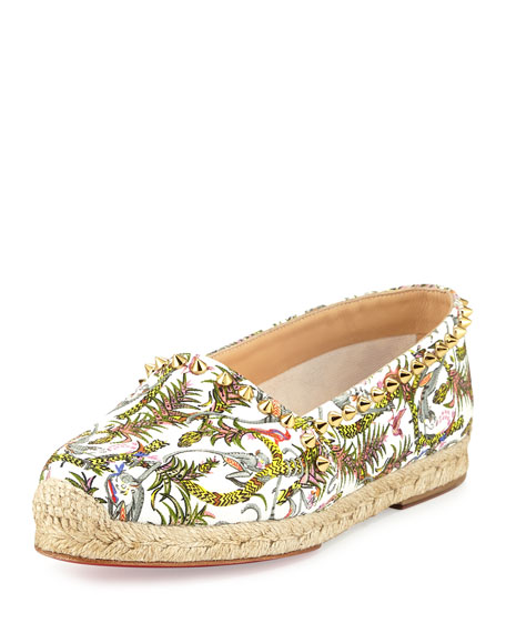 Christian Louboutin Ares Canvas Red Sole Espadrille, Ivory/Gold/Multi