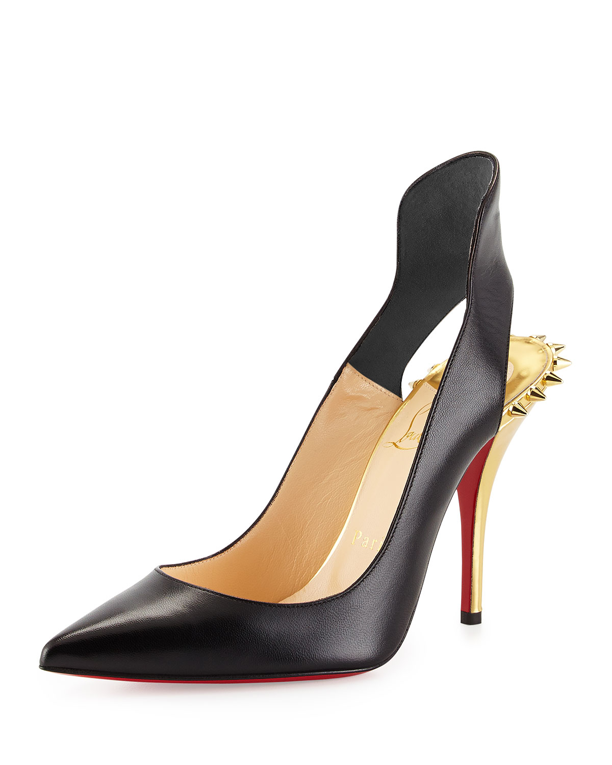 new style c6ff7 76e15 Survivita Leather Spike Red Sole Pump, Black/Gold