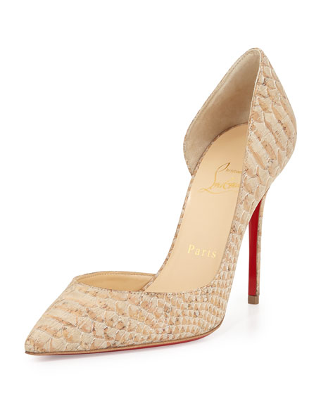 Christian Louboutin Iriza Half-d'Orsay Red Sole Pump, Cork