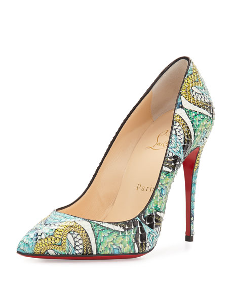 Pigalle Follies Printed Python Red Sole Pump, Multi