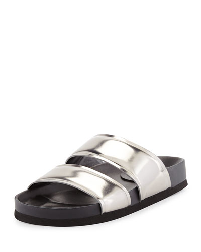 d8651e58f4158 Vince Orion Metallic Leather Double-Band Slide, Pewter Order Now ...