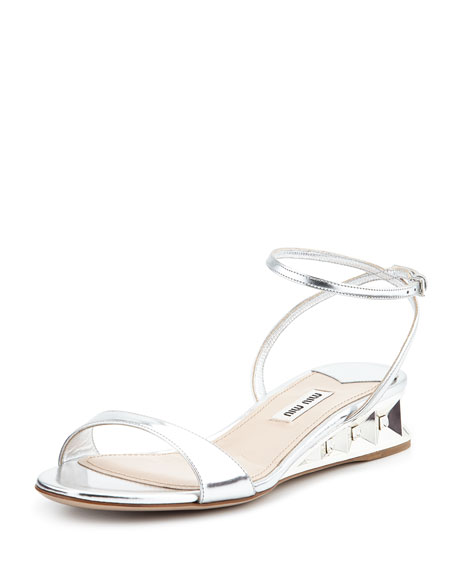 Miu Miu Metallic Patent Jeweled Facet Wedge, Argento
