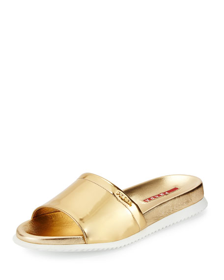 Prada Metallic Single Band Sport Sandal, Argento