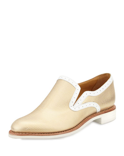 Metallic Stamped Leather Loafer, Goldie