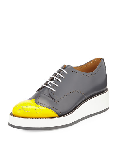 Cap-Toe Perforated Leather Oxford, Overcast