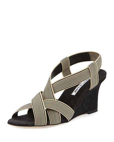 Manolo Blahnik Lasti Stretch-Canvas Wedge Sandal, Black/White
