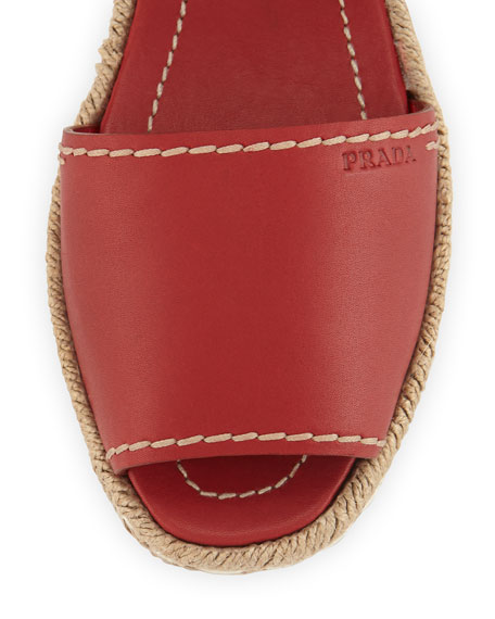 Prada Leather Flat Espadrille Sandal, Scarlatto