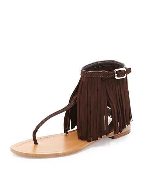 Prada Suede Fringe Flat Sandal, Teak