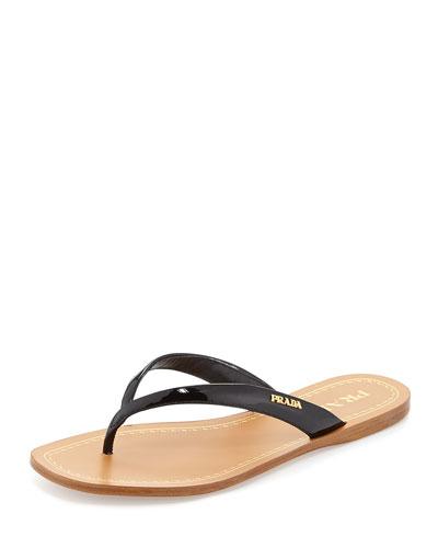 0af6031654a Prada Patent Logo Thong Sandal