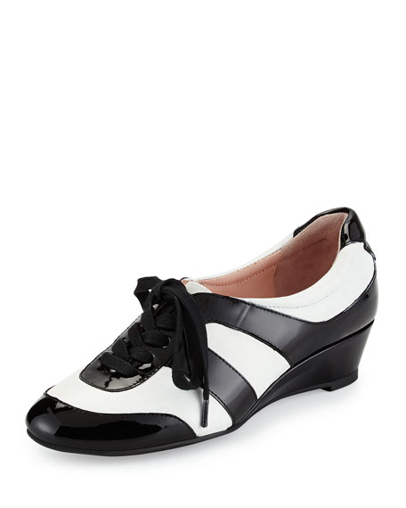Taryn Rose Parisa Lace-Up Wedge Sneaker, White