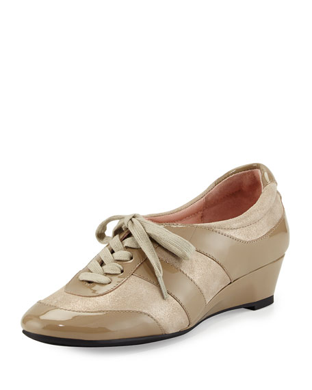 Taryn Rose Parisa Sparkle Wedge Sneaker, Taupe