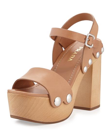 PradaLeather Ankle-Wrap Sandal Clog, Naturale