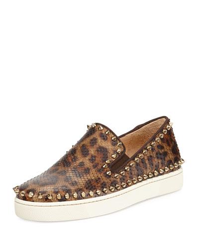 Leopard-Print Python Skate Shoe, Bronze