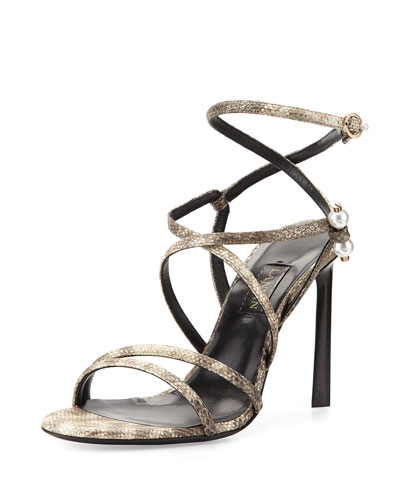 Strappy Sandal with Pierced-Pearl Detail