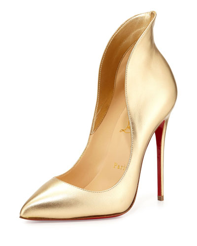 Mea Culpa Metallic Red Sole Pump, Gold