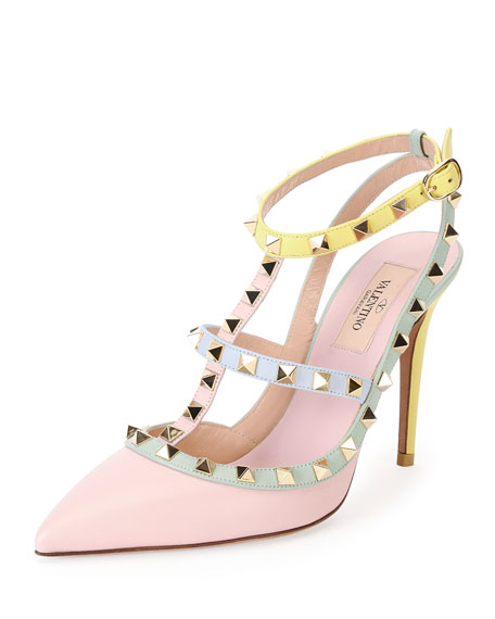 Watercolor Rockstud Slingback Pump