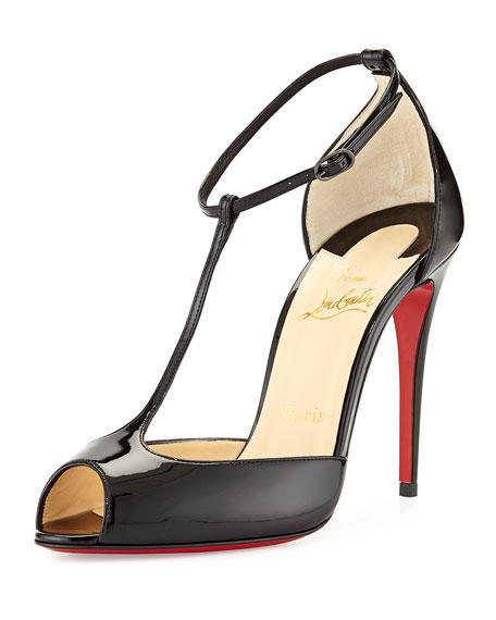 Christian Louboutin Senora Patent T-Strap Red Sole Sandal, Black