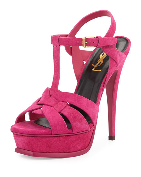 Saint Laurent Tribute Suede Platform Sandal, Pink