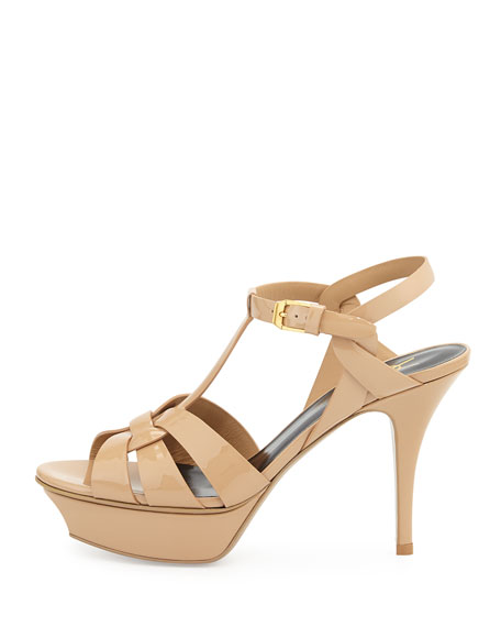 Yves Saint Laurent Tribute textured patent leather clay