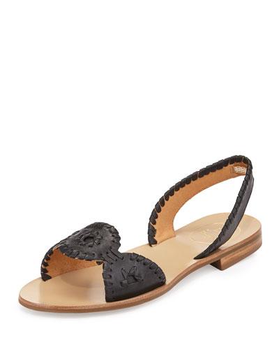 Liliana Leather Slingback Sandal, Black