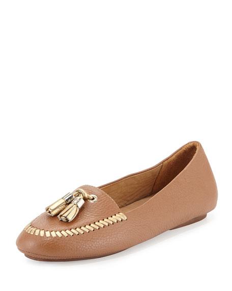 Jack Rogers Terra Tassel Leather Loafer, Cognac/Gold