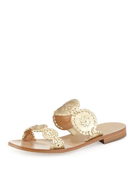 Lauren Double-Strap Metallic Sandal, Gold