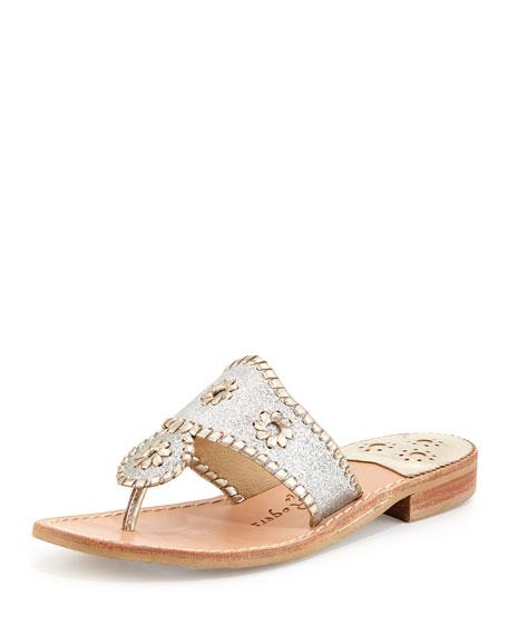 Jack Rogers Sparkle Thong Sandal, Silver/Platinum