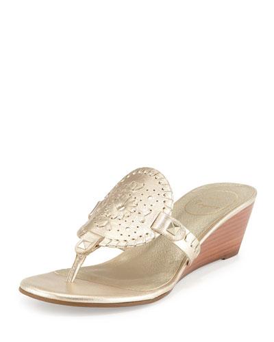 Devyn Demi-Wedge Sandal, Platinum
