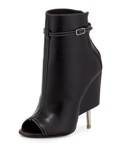 Givenchy  Leather Screw Heel Bootie, Black
