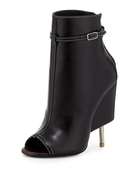 Leather Screw Heel Bootie, Black