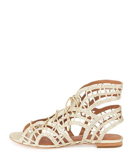 Renee Lace-Up Gladiator Sandal, White Gold