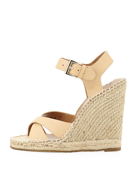 Lena Leather Espadrille Sandal, Nude