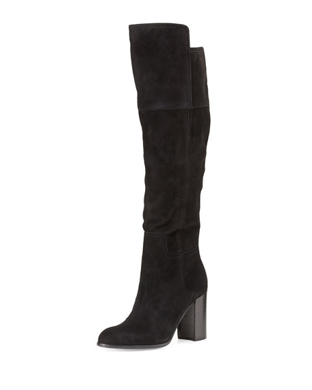 Talia Suede Over-the-Knee Boot, Black