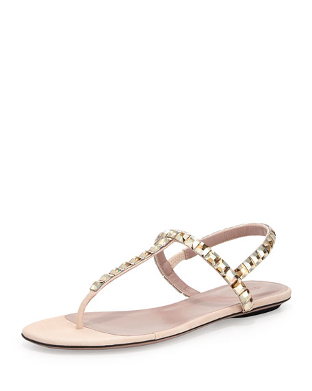 Gucci Mallory Crystal Flat Thong Sandal, Light Pink