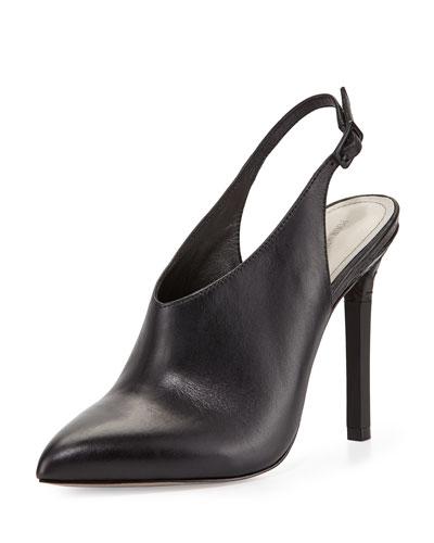 Zen Point-Toe Leather Slingback Bootie, Black