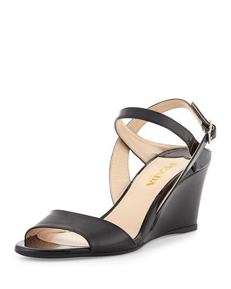 Prada Patent Demi-Wedge Sandal, Nero