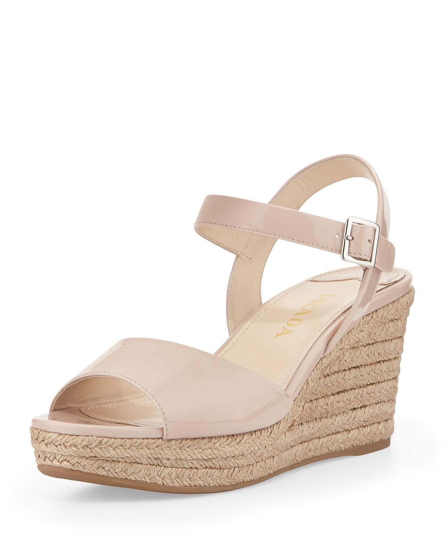 99b5edd26774 Prada Patent Espadrille Wedge Sandal