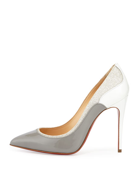 Tucsick Patent Red Sole Pump, Gray/Ivory