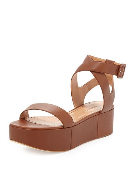 Alexa Wagner Puccia Ankle Strap Platform Wedge, Brown