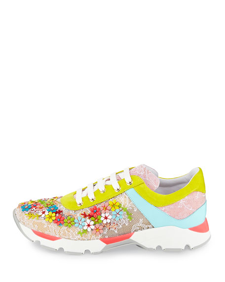Rene Caovilla Floral Embellished Lace Sneaker, Multicolor