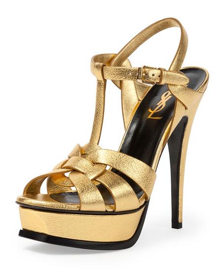 Saint Laurent Tribute Metallic Leather Platform Sandal, Gold