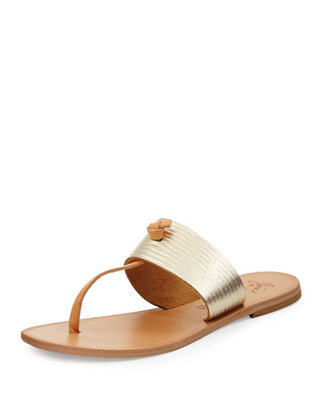 Nice Knotted T-Strap Sandal, Platinum